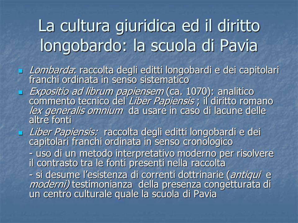La cultura giuridica ed il diritto longobardo: la scuola di Pavia Lombarda: raccolta degli editti longobardi e dei capitolari franchi ordinata in sens
