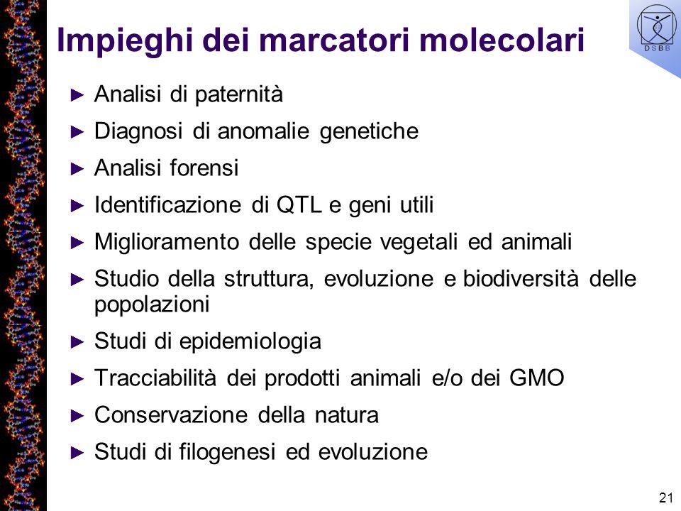 21 Impieghi dei marcatori molecolari Analisi di paternità Diagnosi di anomalie genetiche Analisi forensi Identificazione di QTL e geni utili Miglioram