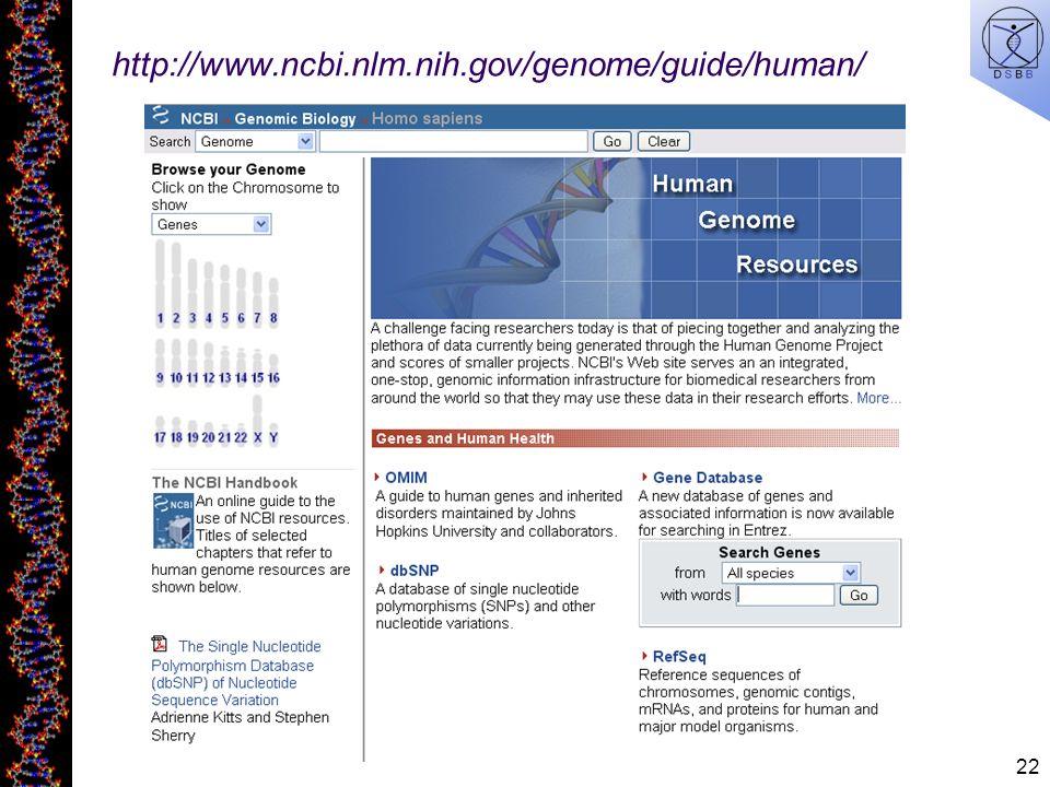 22 http://www.ncbi.nlm.nih.gov/genome/guide/human/
