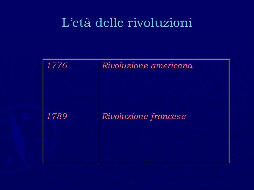 Letà delle rivoluzioni 17761789 Rivoluzione americana Rivoluzione francese
