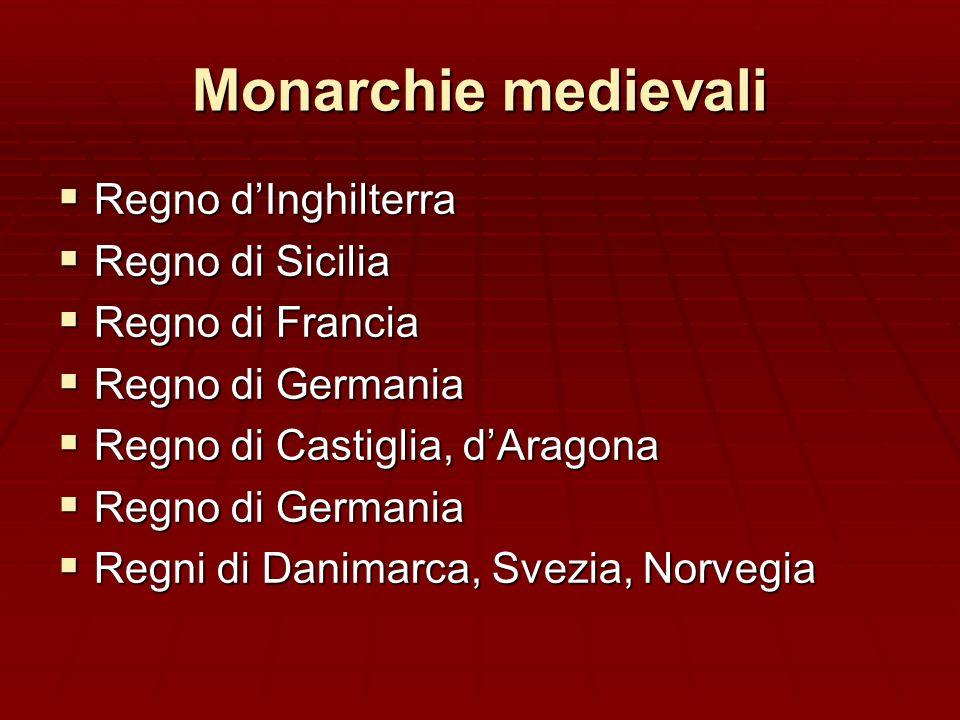 Monarchie medievali Regno dInghilterra Regno dInghilterra Regno di Sicilia Regno di Sicilia Regno di Francia Regno di Francia Regno di Germania Regno