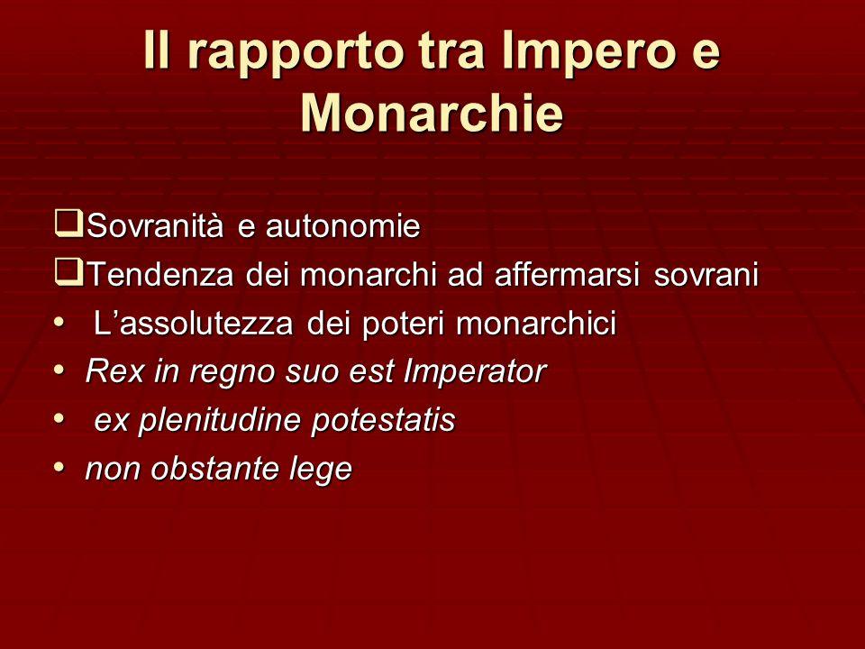 Il rapporto tra Impero e Monarchie Sovranità e autonomie Sovranità e autonomie Tendenza dei monarchi ad affermarsi sovrani Tendenza dei monarchi ad af