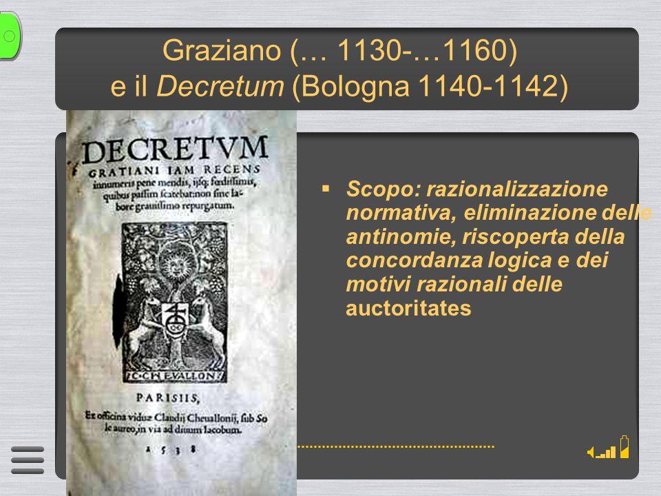Graziano (… 1130-…1160) e il Decretum (Bologna 1140-1142) Scopo: razionalizzazione normativa, eliminazione delle antinomie, riscoperta della concordanza logica e dei motivi razionali delle auctoritates