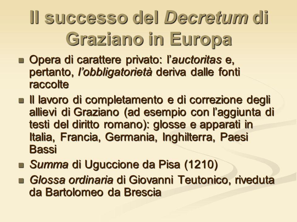Il successo del Decretum di Graziano in Europa Opera di carattere privato: lauctoritas e, pertanto, lobbligatorietà deriva dalle fonti raccolte Opera