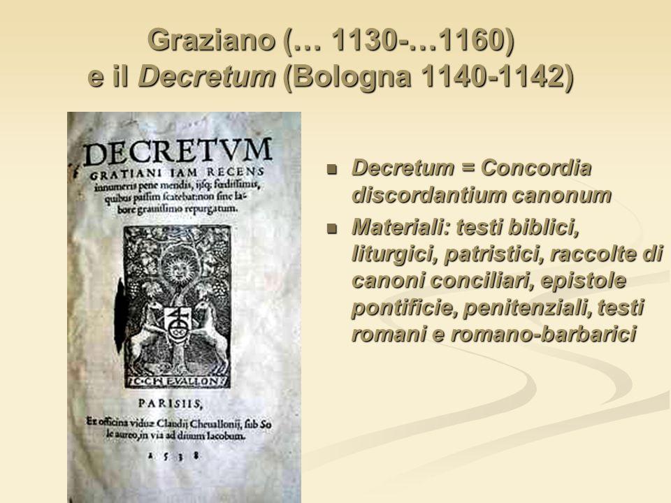 Graziano (… 1130-…1160) e il Decretum (Bologna 1140-1142) Decretum = Concordia discordantium canonum Materiali: testi biblici, liturgici, patristici,