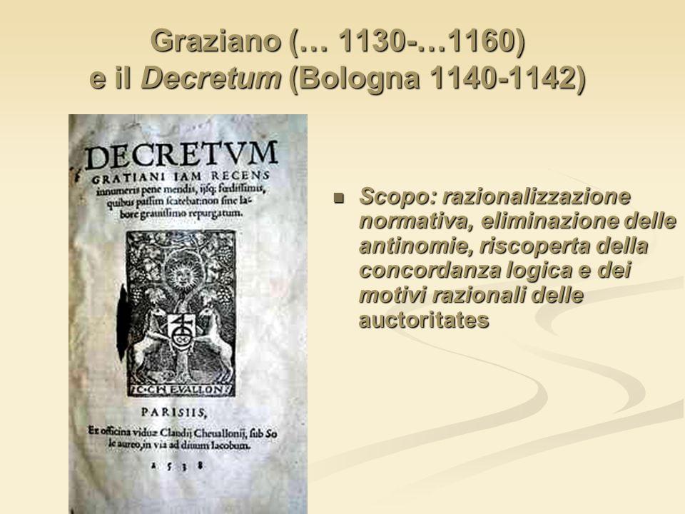 Graziano (… 1130-…1160) e il Decretum (Bologna 1140-1142) Scopo: razionalizzazione normativa, eliminazione delle antinomie, riscoperta della concordan