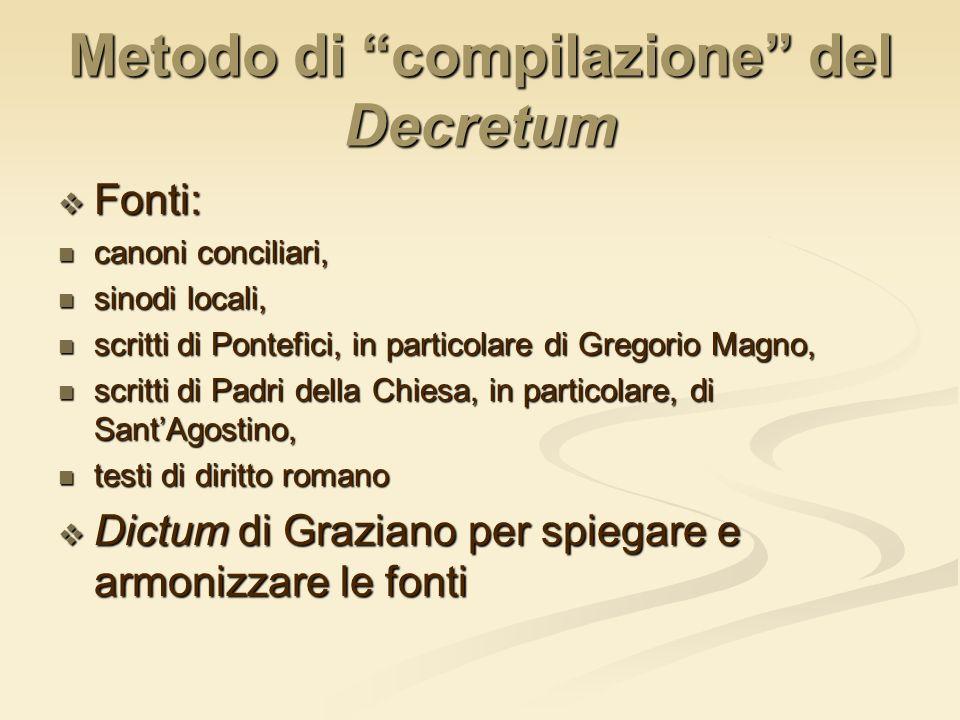 Metodo di compilazione del Decretum Fonti: Fonti: canoni conciliari, canoni conciliari, sinodi locali, sinodi locali, scritti di Pontefici, in partico