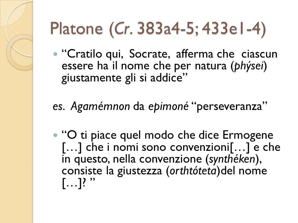 Platone (Cr. 383a4-5; 433e1-4) Cratilo qui, Socrate, afferma che ciascun essere ha il nome che per natura (phýsei) giustamente gli si addice es. Agamé