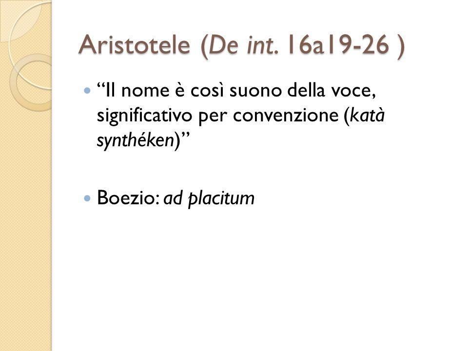 Aristotele (De int. 16a19-26 ) Il nome è così suono della voce, significativo per convenzione (katà synthéken) Boezio: ad placitum