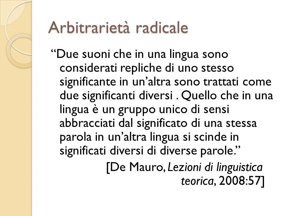 Arbitrarietà radicale Due suoni che in una lingua sono considerati repliche di uno stesso significante in unaltra sono trattati come due significanti