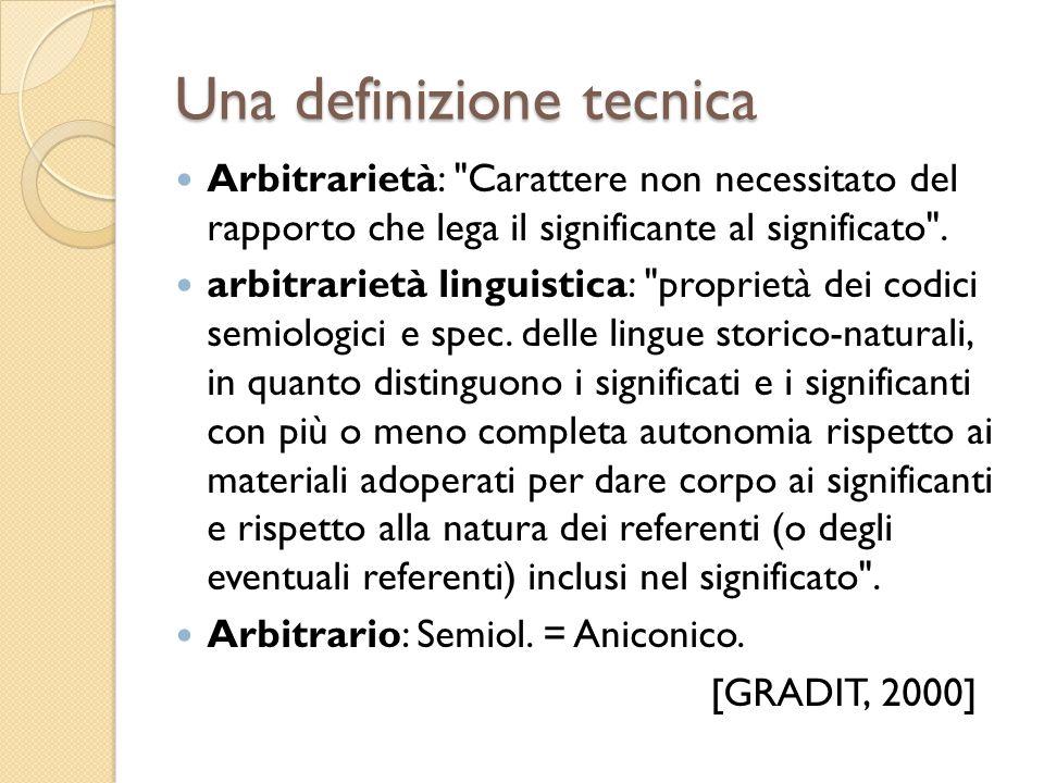 Arbitrarietà materiale Consiste nella possibilità teorica di usare qualunque materiale per dare sostanza ai significati e ai significanti dei codici semiologici [De Mauro, Lezioni di linguistica teorica, 2008:62]