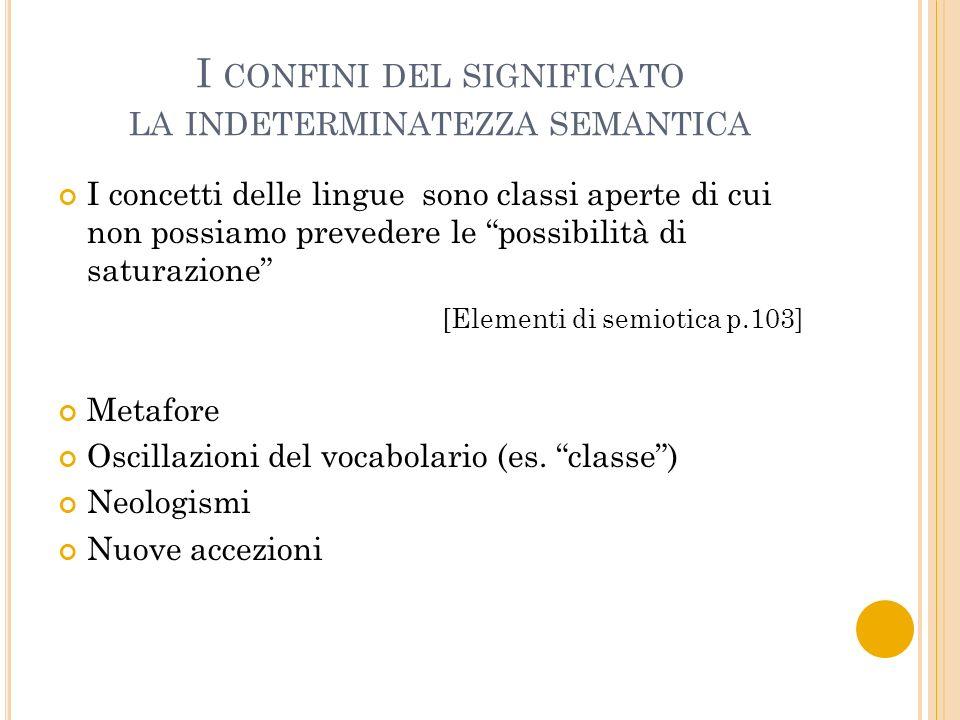 I CONFINI DEL SIGNIFICATO LA INDETERMINATEZZA SEMANTICA I concetti delle lingue sono classi aperte di cui non possiamo prevedere le possibilità di sat