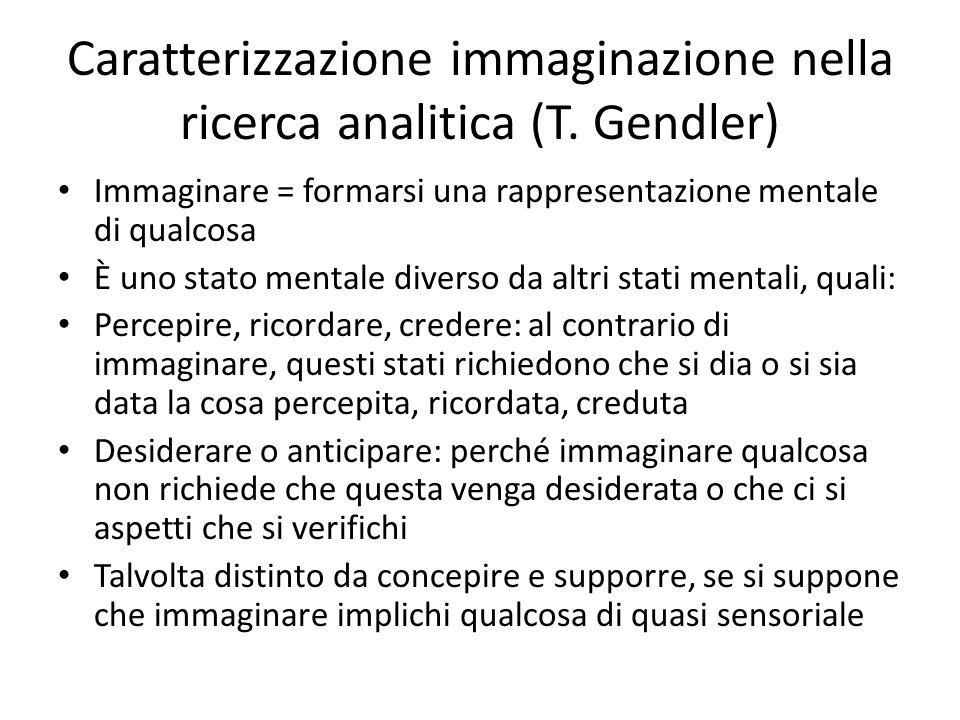 Caratterizzazione immaginazione nella ricerca analitica (T. Gendler) Immaginare = formarsi una rappresentazione mentale di qualcosa È uno stato mental
