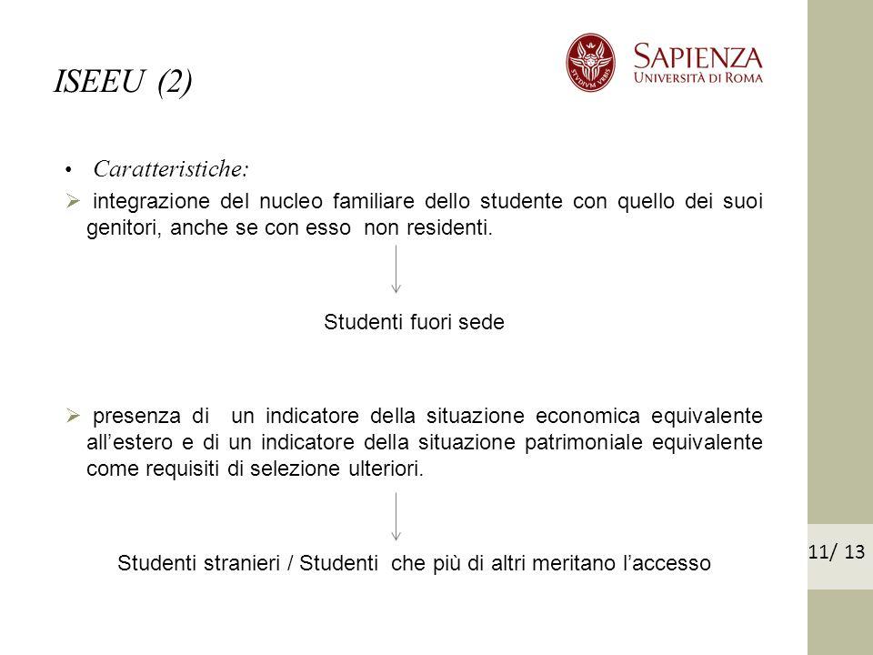 Caratteristiche: integrazione del nucleo familiare dello studente con quello dei suoi genitori, anche se con esso non residenti.