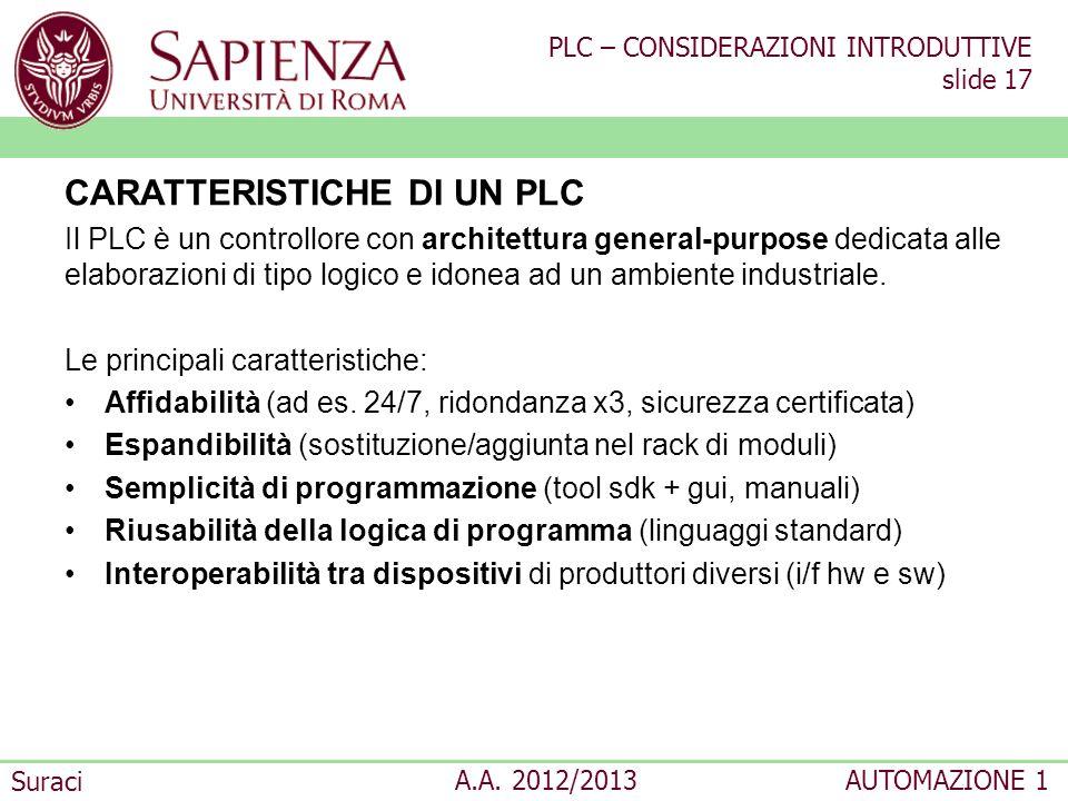PLC – CONSIDERAZIONI INTRODUTTIVE slide 17 Suraci A.A. 2012/2013AUTOMAZIONE 1 CARATTERISTICHE DI UN PLC Il PLC è un controllore con architettura gener