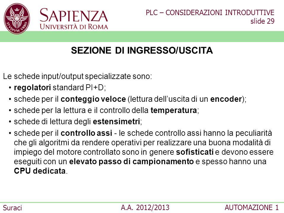 PLC – CONSIDERAZIONI INTRODUTTIVE slide 29 Suraci A.A. 2012/2013AUTOMAZIONE 1 SEZIONE DI INGRESSO/USCITA Le schede input/output specializzate sono: re