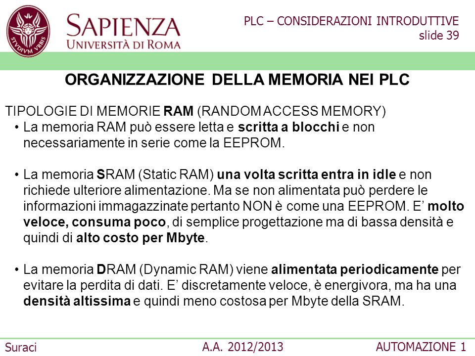 PLC – CONSIDERAZIONI INTRODUTTIVE slide 39 Suraci A.A. 2012/2013AUTOMAZIONE 1 ORGANIZZAZIONE DELLA MEMORIA NEI PLC TIPOLOGIE DI MEMORIE RAM (RANDOM AC