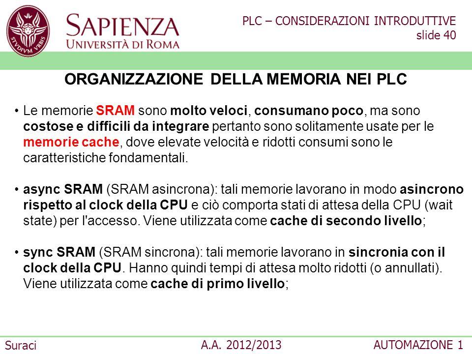 PLC – CONSIDERAZIONI INTRODUTTIVE slide 40 Suraci A.A. 2012/2013AUTOMAZIONE 1 ORGANIZZAZIONE DELLA MEMORIA NEI PLC Le memorie SRAM sono molto veloci,