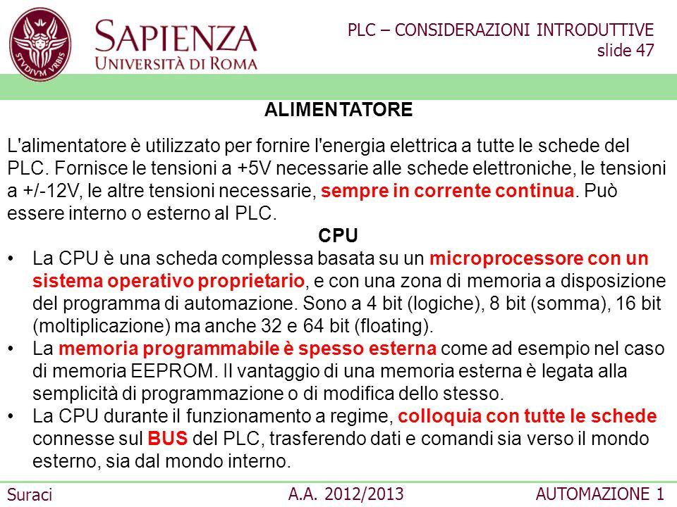 PLC – CONSIDERAZIONI INTRODUTTIVE slide 47 Suraci A.A. 2012/2013AUTOMAZIONE 1 ALIMENTATORE L'alimentatore è utilizzato per fornire l'energia elettrica