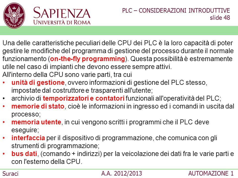 PLC – CONSIDERAZIONI INTRODUTTIVE slide 48 Suraci A.A. 2012/2013AUTOMAZIONE 1 Una delle caratteristiche peculiari delle CPU dei PLC è la loro capacità