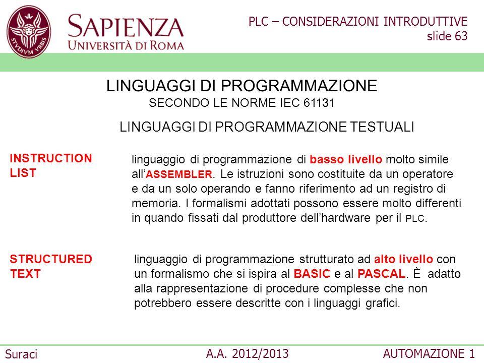 PLC – CONSIDERAZIONI INTRODUTTIVE slide 63 Suraci A.A. 2012/2013AUTOMAZIONE 1 STRUCTURED TEXT linguaggio di programmazione strutturato ad alto livello