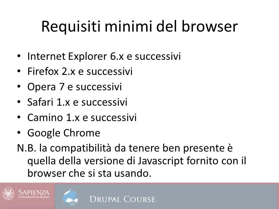 Requisiti minimi del browser Internet Explorer 6.x e successivi Firefox 2.x e successivi Opera 7 e successivi Safari 1.x e successivi Camino 1.x e successivi Google Chrome N.B.
