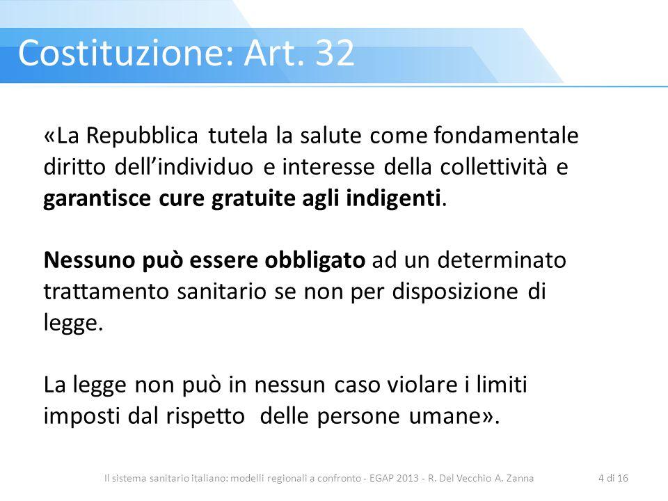 Il sistema sanitario italiano: modelli regionali a confronto - EGAP 2013 - R. Del Vecchio A. Zanna4 di 16 «La Repubblica tutela la salute come fondame