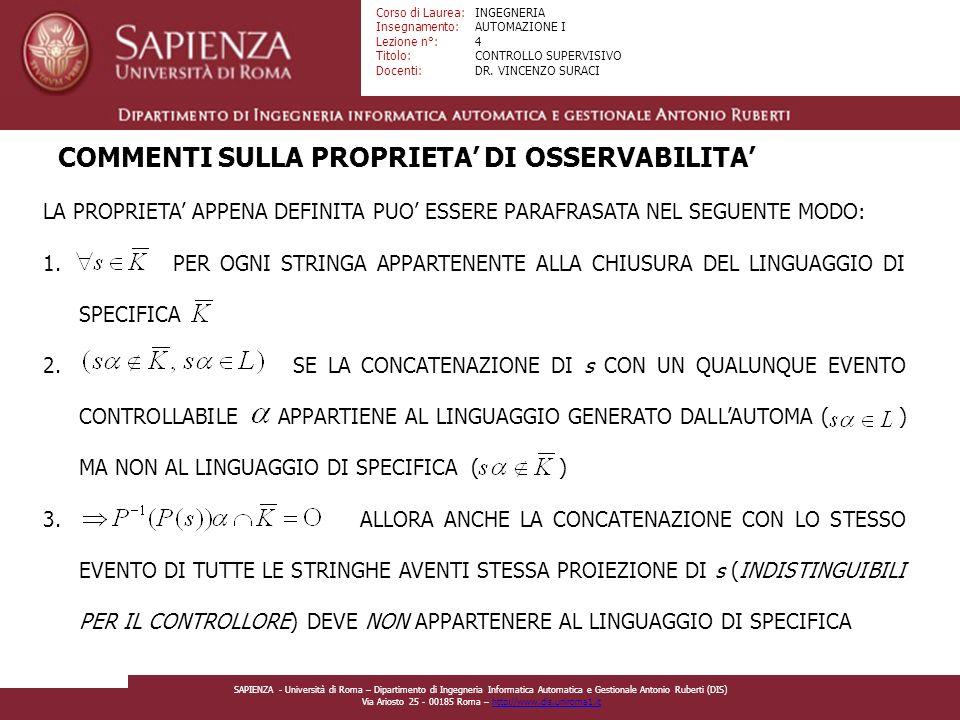 Facoltà di Ingegneria Corso di Laurea: Insegnamento: Lezione n°: Titolo: Docenti: INGEGNERIA AUTOMAZIONE I 4 CONTROLLO SUPERVISIVO DR.