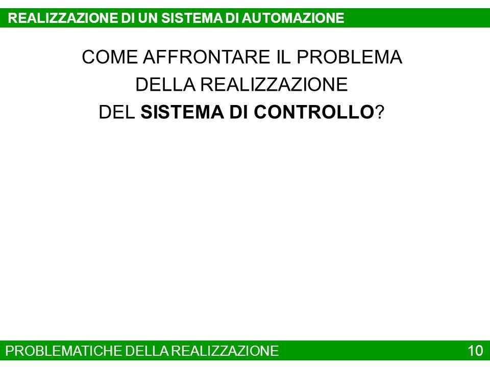 COME AFFRONTARE IL PROBLEMA DELLA REALIZZAZIONE DEL SISTEMA DI CONTROLLO? PROBLEMATICHE DELLA REALIZZAZIONE 10 REALIZZAZIONE DI UN SISTEMA DI AUTOMAZI