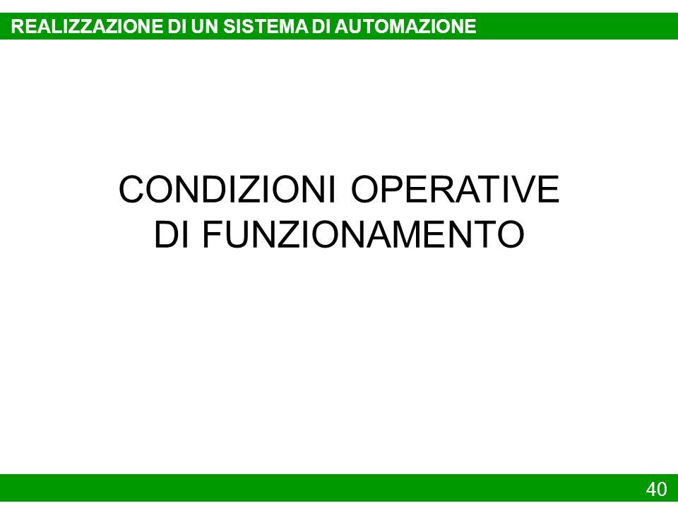 40 CONDIZIONI OPERATIVE DI FUNZIONAMENTO REALIZZAZIONE DI UN SISTEMA DI AUTOMAZIONE