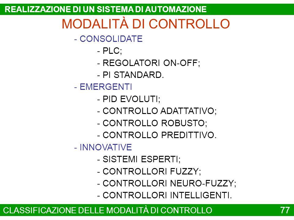 MODALITÀ DI CONTROLLO - CONSOLIDATE - EMERGENTI - INNOVATIVE - PLC; - REGOLATORI ON-OFF; - PI STANDARD. - PID EVOLUTI; - CONTROLLO ADATTATIVO; - CONTR
