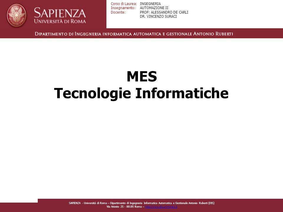 Facoltà di Ingegneria Corso di Laurea: Insegnamento: Docente: INGEGNERIA AUTOMAZIONE II PROF: ALESSANDRO DE CARLI DR.