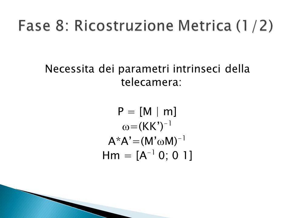 Necessita dei parametri intrinseci della telecamera: P = [M | m] =(KK) -1 A*A=(M M) -1 Hm = [A -1 0; 0 1]