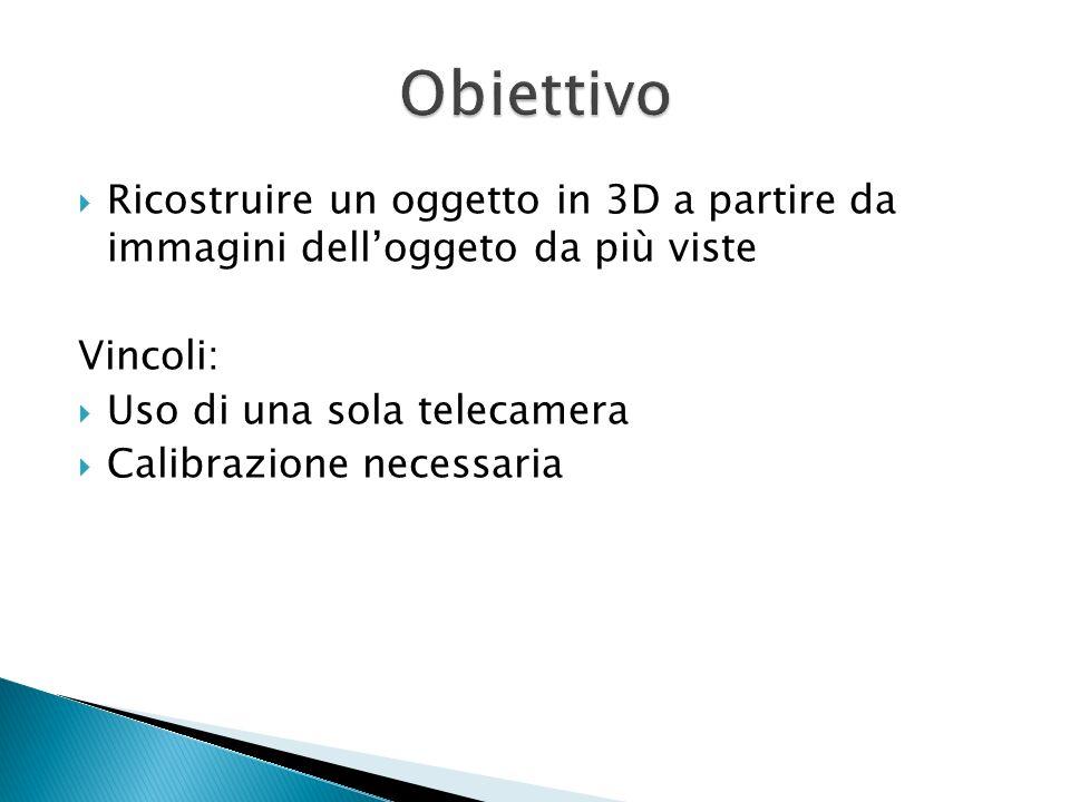 Ricostruire un oggetto in 3D a partire da immagini delloggeto da più viste Vincoli: Uso di una sola telecamera Calibrazione necessaria