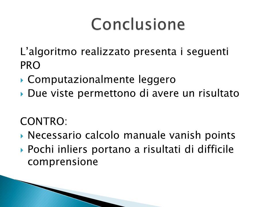 Lalgoritmo realizzato presenta i seguenti PRO Computazionalmente leggero Due viste permettono di avere un risultato CONTRO: Necessario calcolo manuale