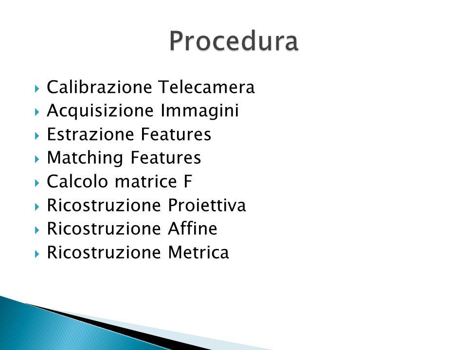 Calibrazione Telecamera Acquisizione Immagini Estrazione Features Matching Features Calcolo matrice F Ricostruzione Proiettiva Ricostruzione Affine Ri