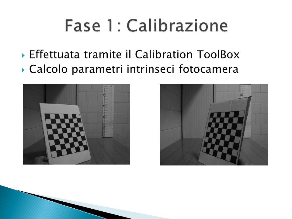 Effettuata tramite il Calibration ToolBox Calcolo parametri intrinseci fotocamera