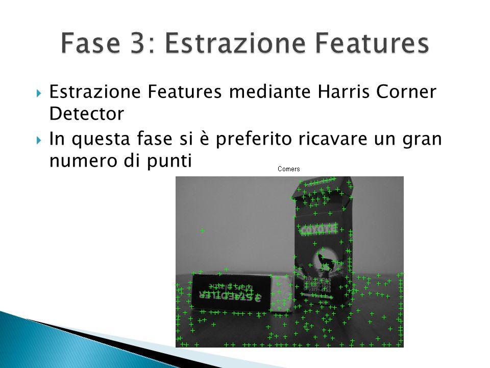 Estrazione Features mediante Harris Corner Detector In questa fase si è preferito ricavare un gran numero di punti
