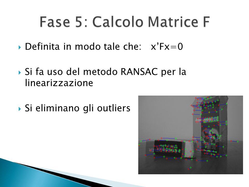 Definita in modo tale che: xFx=0 Si fa uso del metodo RANSAC per la linearizzazione Si eliminano gli outliers