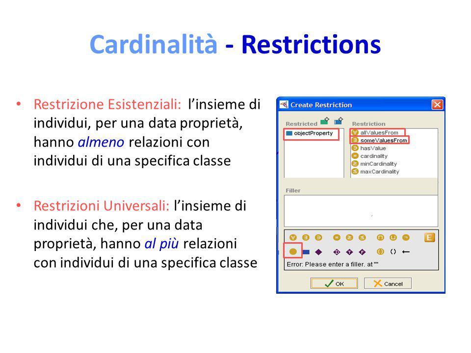 Cardinalità - Restrictions Restrizione Esistenziali: linsieme di individui, per una data proprietà, hanno almeno relazioni con individui di una specifica classe Restrizioni Universali: linsieme di individui che, per una data proprietà, hanno al più relazioni con individui di una specifica classe