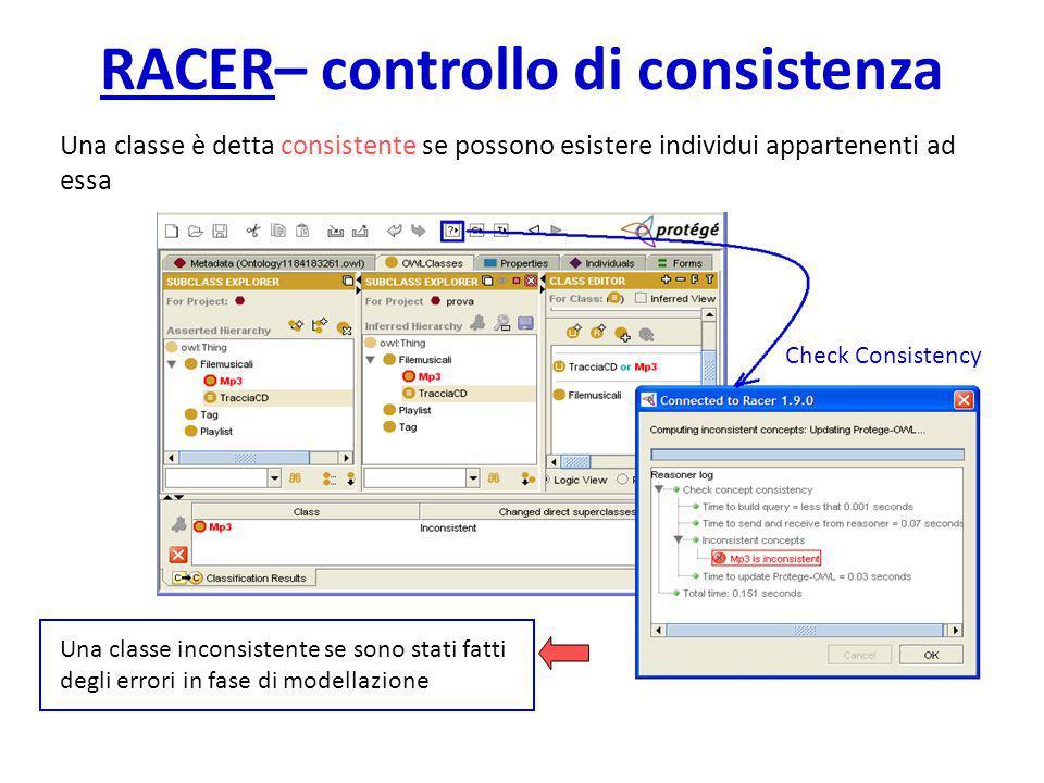 RACER– controllo di consistenza Una classe è detta consistente se possono esistere individui appartenenti ad essa Una classe inconsistente se sono stati fatti degli errori in fase di modellazione Check Consistency