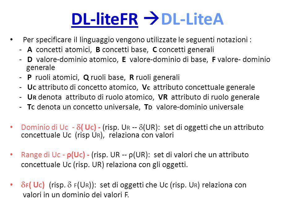 DL-liteFR DL-LiteA Per specificare il linguaggio vengono utilizzate le seguenti notazioni : - A concetti atomici, B concetti base, C concetti generali - D valore-dominio atomico, E valore-dominio di base, F valore- dominio generale - P ruoli atomici, Q ruoli base, R ruoli generali - U C attributo di concetto atomico, V c attributo concettuale generale - U R denota attributo di ruolo atomico, VR attributo di ruolo generale - T C denota un concetto universale, T D valore-dominio universale Dominio di Uc - ( U C ) - (risp.