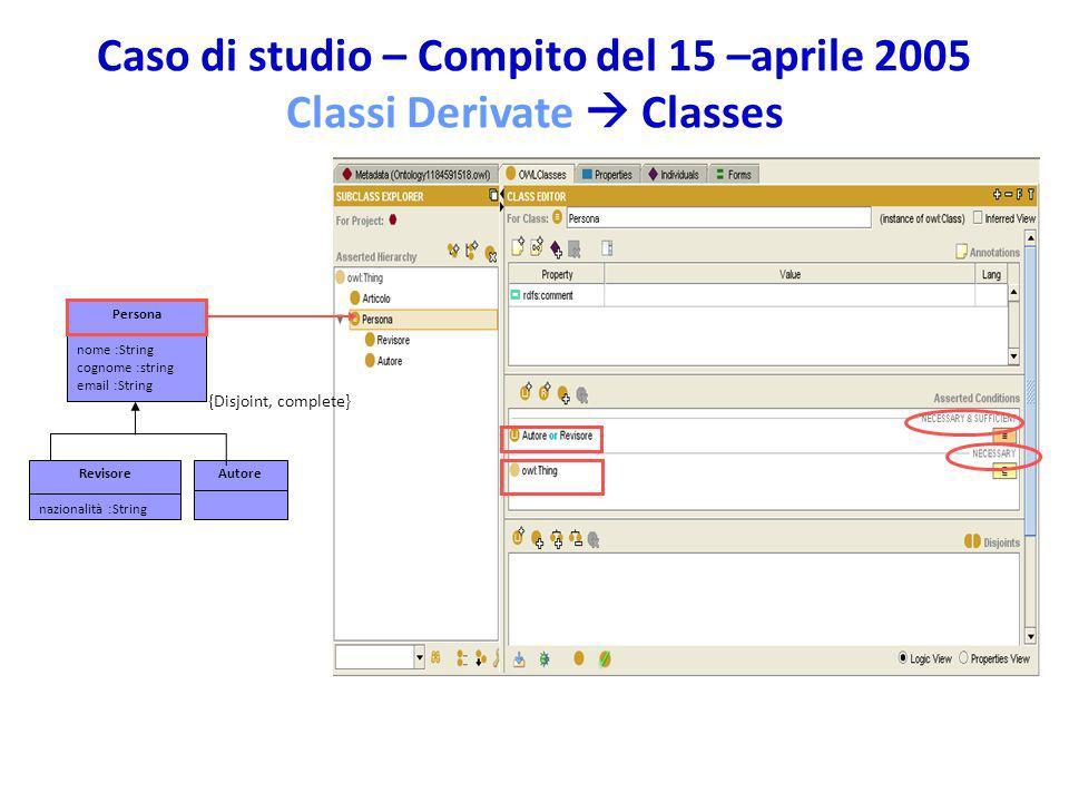 Caso di studio – Compito del 15 –aprile 2005 Classi Derivate Classes Persona nome :String cognome :string email :String AutoreRevisore nazionalità :St
