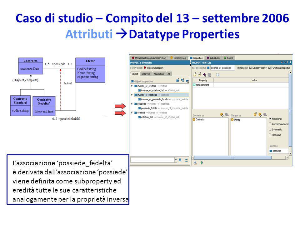 Caso di studio – Compito del 13 – settembre 2006 Attributi Datatype Properties Lassociazione possiede_fedelta è derivata dallassociazione possiede: viene definita come subproperty ed eredità tutte le sue caratteristiche analogamente per la proprietà inversa