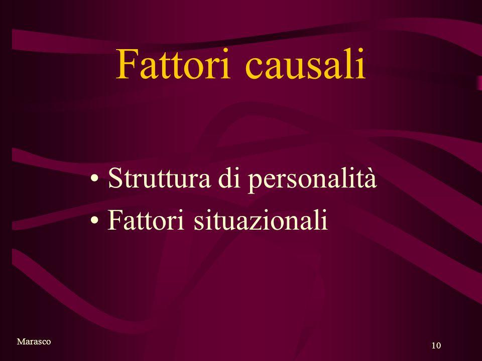 Marasco 10 Fattori causali Struttura di personalità Fattori situazionali