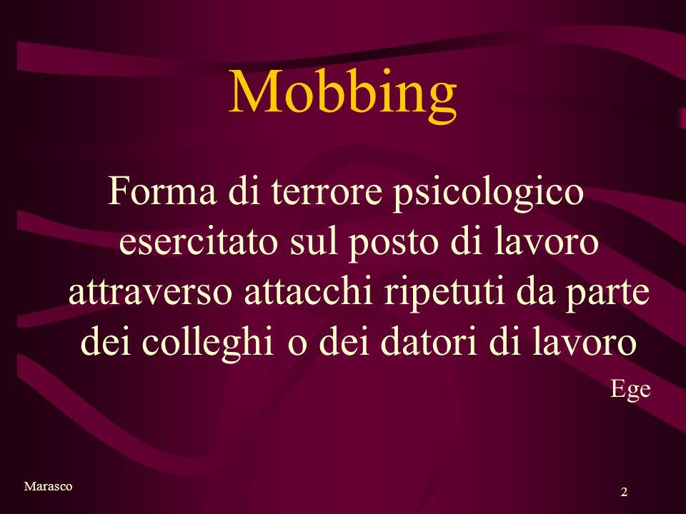 Marasco 2 Mobbing Forma di terrore psicologico esercitato sul posto di lavoro attraverso attacchi ripetuti da parte dei colleghi o dei datori di lavor
