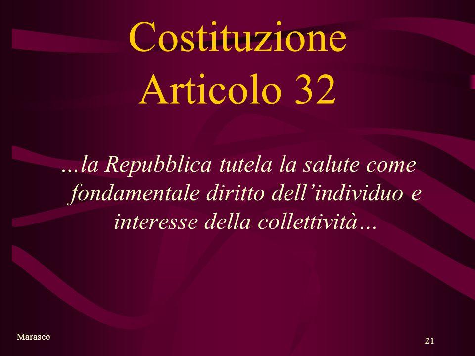 Marasco 21 Costituzione Articolo 32 …la Repubblica tutela la salute come fondamentale diritto dellindividuo e interesse della collettività…