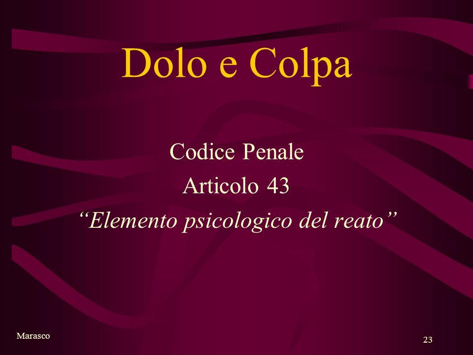 Marasco 23 Dolo e Colpa Codice Penale Articolo 43 Elemento psicologico del reato