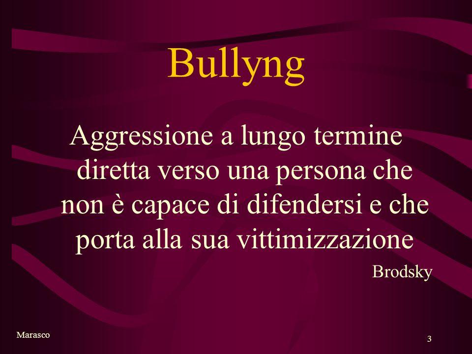 Marasco 3 Bullyng Aggressione a lungo termine diretta verso una persona che non è capace di difendersi e che porta alla sua vittimizzazione Brodsky