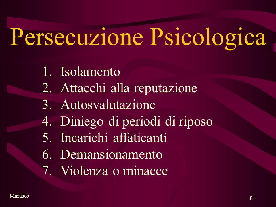 Marasco 8 Persecuzione Psicologica 1.Isolamento 2.Attacchi alla reputazione 3.Autosvalutazione 4.Diniego di periodi di riposo 5.Incarichi affaticanti